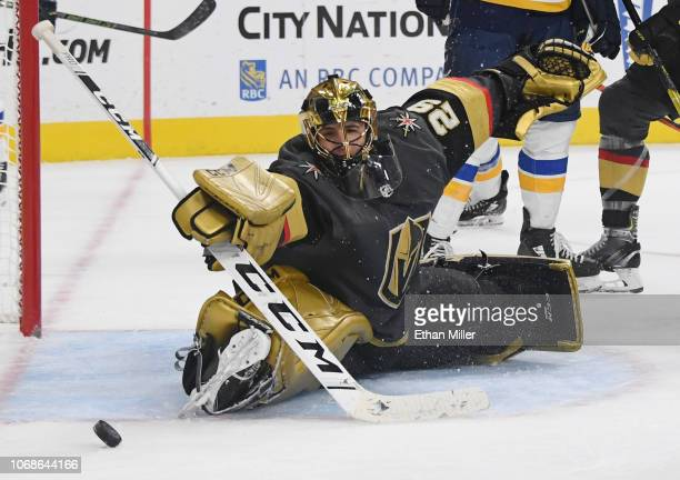 MarcAndre Fleury of the Vegas Golden Knights blocks a St Louis Blues' shot in the third period of their game at TMobile Arena on November 16 2018 in...