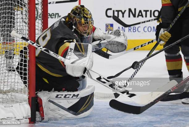 MarcAndre Fleury of the Vegas Golden Knights blocks shots from teammates during warmups before a game against the Vancouver Canucks at TMobile Arena...