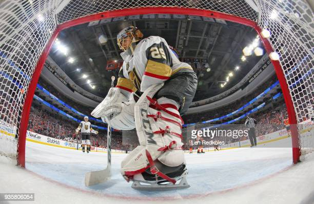 MarcAndre Fleury of the Vegas Golden Knights cleans his crease during a stoppage in play against the Philadelphia Flyers on March 12 2018 at the...