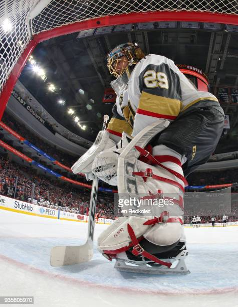 MarcAndre Fleury of the Vegas Golden Knights cleans the crease during a stoppage in play against the Philadelphia Flyers on March 12 2018 at the...