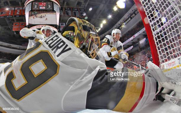MarcAndre Fleury of the Vegas Golden Knights covers the post against a shot on goal by the Philadelphia Flyers on March 12 2018 at the Wells Fargo...