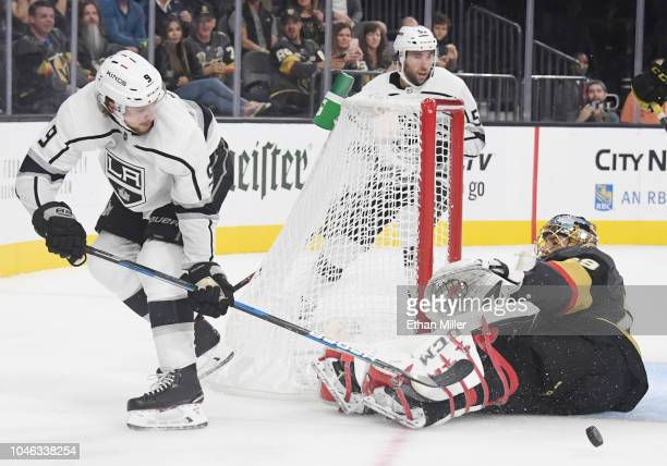 MarcAndre Fleury of the Vegas Golden Knights defends the net against Adrian Kempe of the Los Angeles Kings in the third period of their preseason...