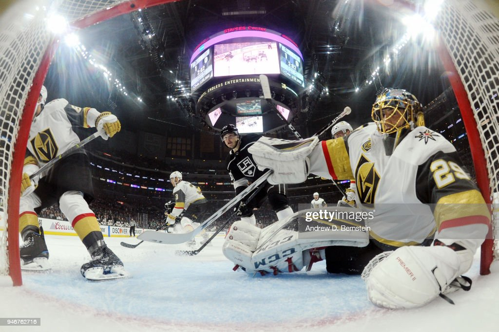 Marc-Andre Fleury #29 of the Vegas Golden Knights defends the net against the Los Angeles Kings in Game Three of the Western Conference First Round during the 2018 NHL Stanley Cup Playoffs at STAPLES Center on April 15, 2018 in Los Angeles, California.