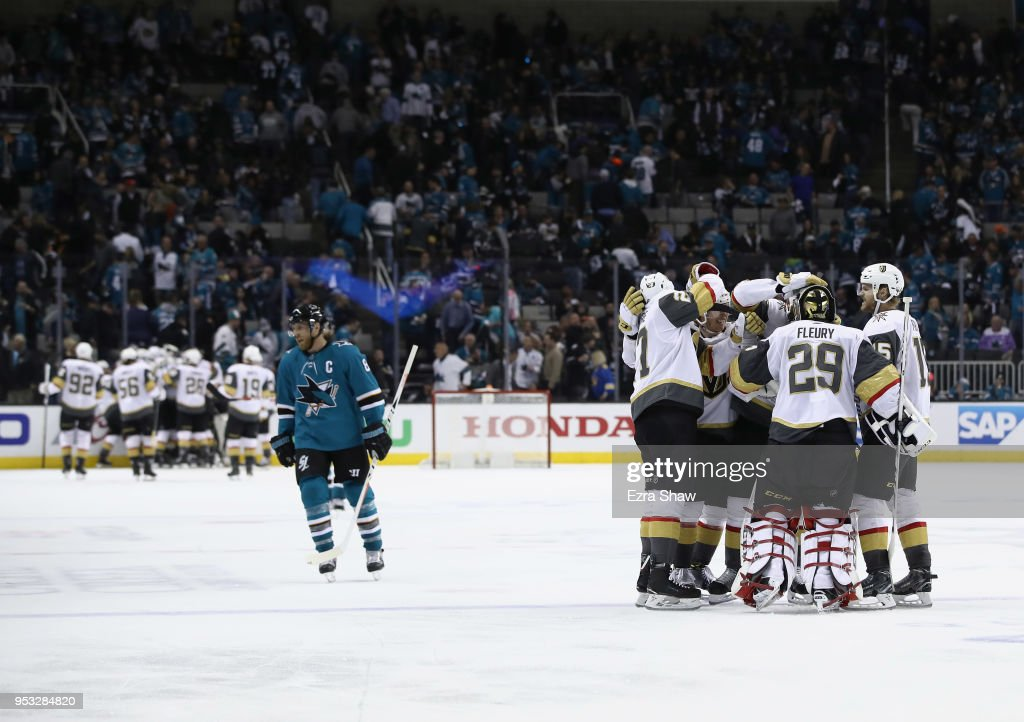Marc-Andre Fleury #29 of the Vegas Golden Knights is congratulated by teammates after they beat Joe Pavelski #8 and the San Jose Sharks in Game Three of the Western Conference Second Round during the 2018 NHL Stanley Cup Playoffs at SAP Center on April 30, 2018 in San Jose, California.