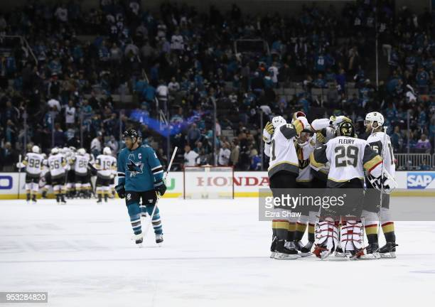 MarcAndre Fleury of the Vegas Golden Knights is congratulated by teammates after they beat Joe Pavelski and the San Jose Sharks in Game Three of the...
