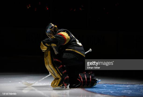 Marc-Andre Fleury of the Vegas Golden Knights is introduced before Game Two of the First Round of the 2021 Stanley Cup Playoffs against the Minnesota...