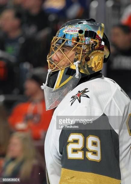 MarcAndre Fleury of the Vegas Golden Knights looks on against the Philadelphia Flyers on March 12 2018 at the Wells Fargo Center in Philadelphia...