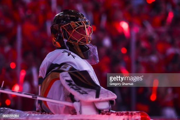 MarcAndre Fleury of the Vegas Golden Knights looks on against the Washington Capitals in Game Three of the 2018 NHL Stanley Cup Final at Capital One...