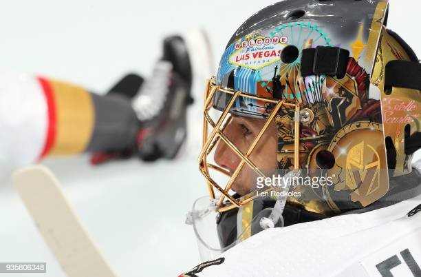 MarcAndre Fleury of the Vegas Golden Knights looks on during warmups prior to his game against the Philadelphia Flyers on March 12 2018 at the Wells...