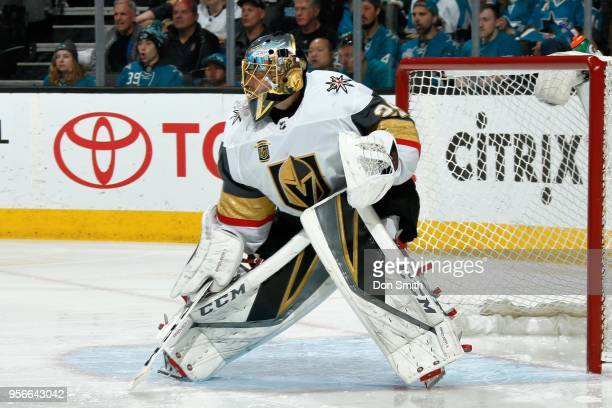 MarcAndre Fleury of the Vegas Golden Knights looks on in Game Six of the Western Conference Second Round against the San Jose Sharks during the 2018...