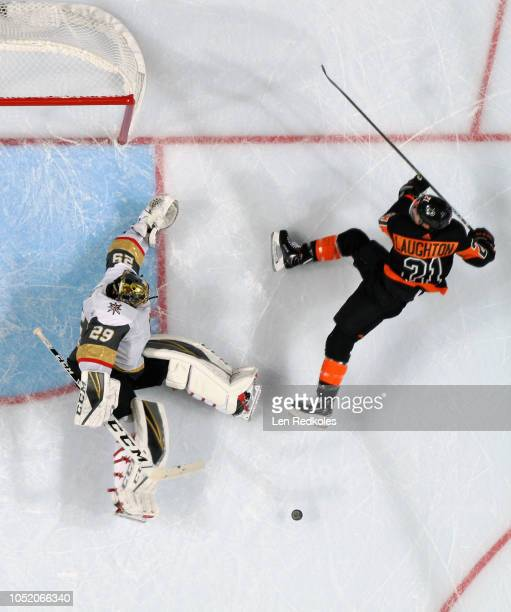 MarcAndre Fleury of the Vegas Golden Knights makes a kick save on a scoring chance by Scott Laughton of the Philadelphia Flyers on October 13 2018 at...