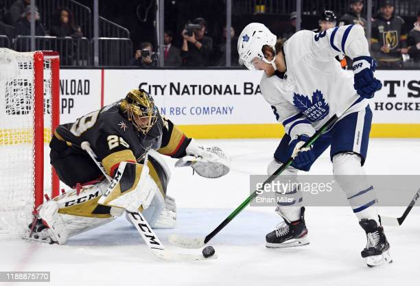 MarcAndre Fleury of the Vegas Golden Knights makes a save against William Nylander of the Toronto Maple Leafs in the third period of their game at...