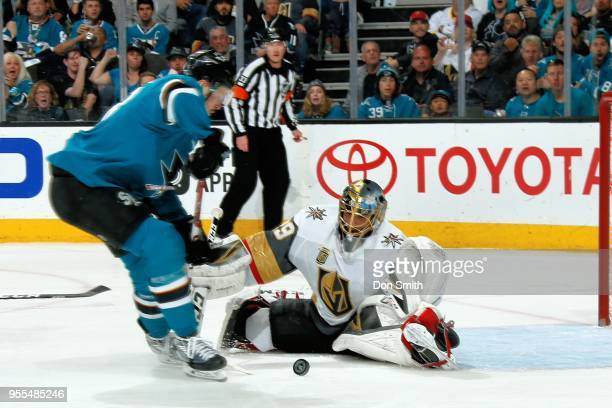 MarcAndre Fleury of the Vegas Golden Knights makes a save against Tomas Hertl of the San Jose Sharks in Game Six of the Western Conference Second...