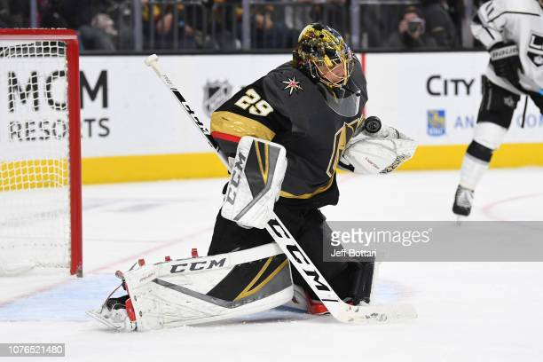 MarcAndre Fleury of the Vegas Golden Knights makes a save against the Los Angeles Kings during a game at TMobile Arena on January 1 2019 in Las Vegas...