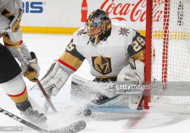 MarcAndre Fleury of the Vegas Golden Knights makes a save during a game between the Minnesota Wild and Las Vegas Golden Knights at Xcel Energy Center...
