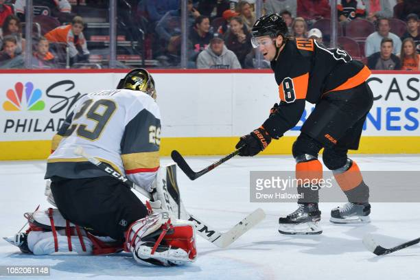 MarcAndre Fleury of the Vegas Golden Knights makes a save on a fast break by Robert Hagg of the Philadelphia Flyers at the Wells Fargo Center on...