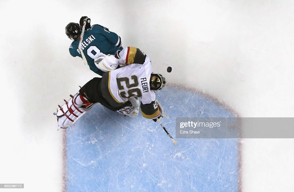 Marc-Andre Fleury #29 of the Vegas Golden Knights makes a save while Joe Pavelski #8 of the San Jose Sharks tries to get the puck in the net during Game Three of the Western Conference Second Round during the 2018 NHL Stanley Cup Playoffs at SAP Center on April 30, 2018 in San Jose, California.