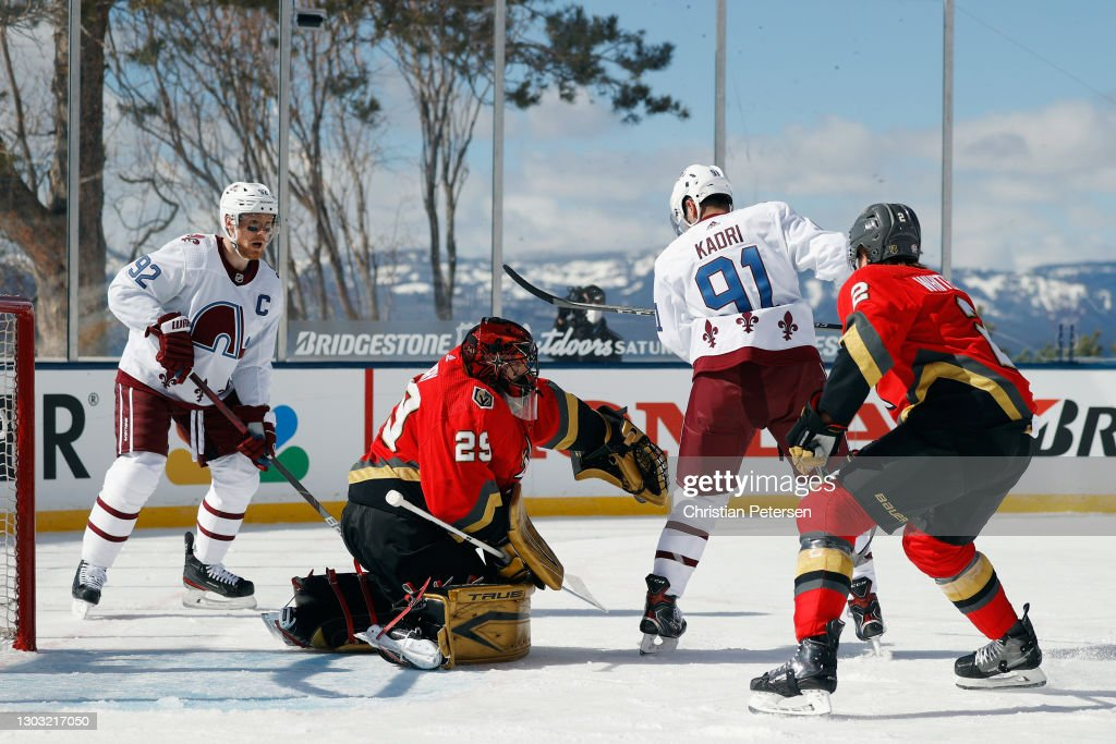 NHL Outdoors At Lake Tahoe - Vegas Golden Knights v Colorado Avalanche : News Photo