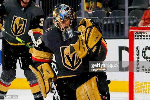 Marc-Andre Fleury of the Vegas Golden Knights makes the save against against the Montreal Canadiens during the third period in Game One of the...