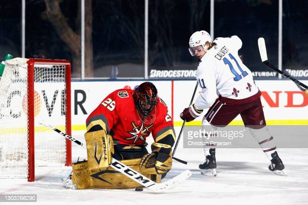 Marc-Andre Fleury of the Vegas Golden Knights makes the third period save on Matt Calvert of the Colorado Avalanche during the NHL Outdoors at Lake...