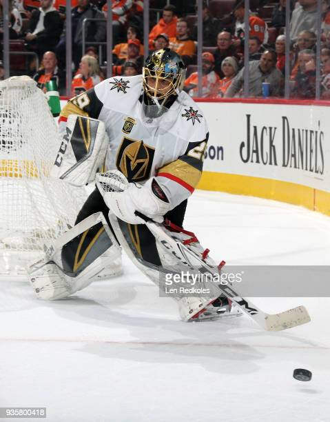 MarcAndre Fleury of the Vegas Golden Knights passes the puck against the Philadelphia Flyers on March 12 2018 at the Wells Fargo Center in...