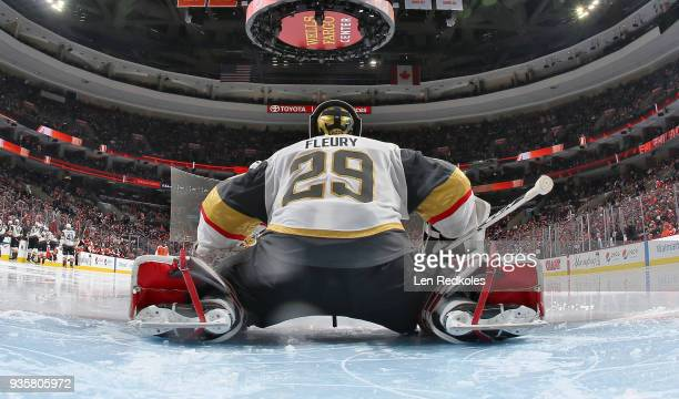 MarcAndre Fleury of the Vegas Golden Knights prepares for the start of the third period against the Philadelphia Flyers on March 12 2018 at the Wells...