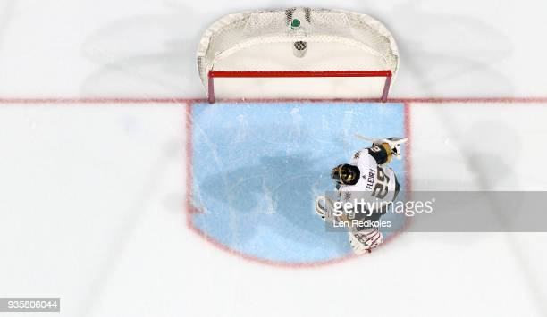 MarcAndre Fleury of the Vegas Golden Knights prepares for the start of the second period against the Philadelphia Flyers on March 12 2018 at the...