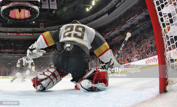 MarcAndre Fleury of the Vegas Golden Knights prepares to stop a shot on goal against the Philadelphia Flyers on March 12 2018 at the Wells Fargo...