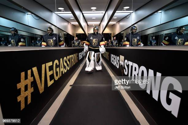 MarcAndre Fleury of the Vegas Golden Knights prepares to take the ice prior to Game Five of the Stanley Cup Final against the Washington Capitals...
