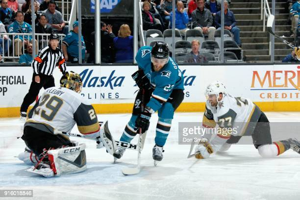 MarcAndre Fleury of the Vegas Golden Knights protects the net as Brad Hunt of the Vegas Golden Knights defends Barclay Goodrow of the San Jose Sharks...