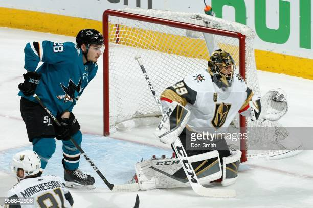MarcAndre Fleury of the Vegas Golden Knights protects the net as Timo Meier of the San Jose Sharks looks in Game Six of the Western Conference Second...