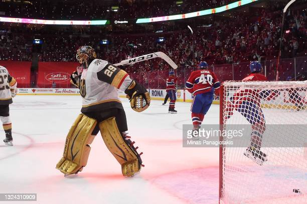 Marc-Andre Fleury of the Vegas Golden Knights reacts after allowing a goal to Josh Anderson of the Montreal Canadiens during the third period in Game...