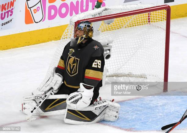 MarcAndre Fleury of the Vegas Golden Knights reacts after allowing a goal to Patrik Laine of the Winnipeg Jets during the second period in Game Four...