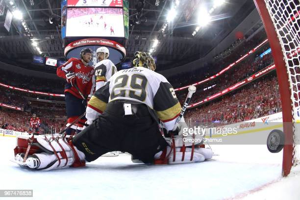 MarcAndre Fleury of the Vegas Golden Knights reacts after allowing a thirdperiod goal to Brett Connolly of the Washington Capitals in Game Four of...