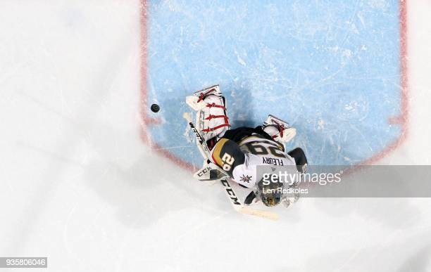 MarcAndre Fleury of the Vegas Golden Knights reacts to a shot on goal against the Philadelphia Flyers on March 12 2018 at the Wells Fargo Center in...