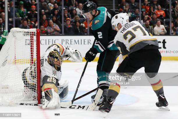 MarcAndre Fleury of the Vegas Golden Knights saves a shot attempt by Brendan Guhle of the Anaheim Ducks during the third period at Honda Center on...