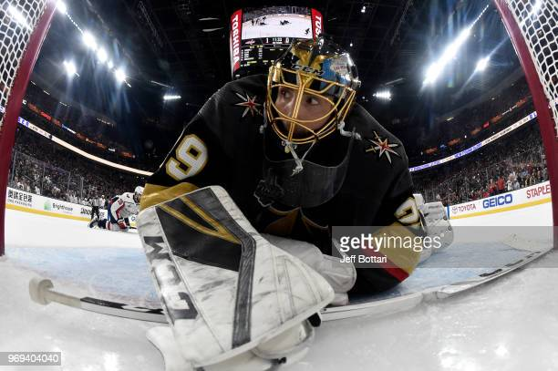 MarcAndre Fleury of the Vegas Golden Knights saves a shot during the second period against the Washington Capitals in Game Five of the Stanley Cup...