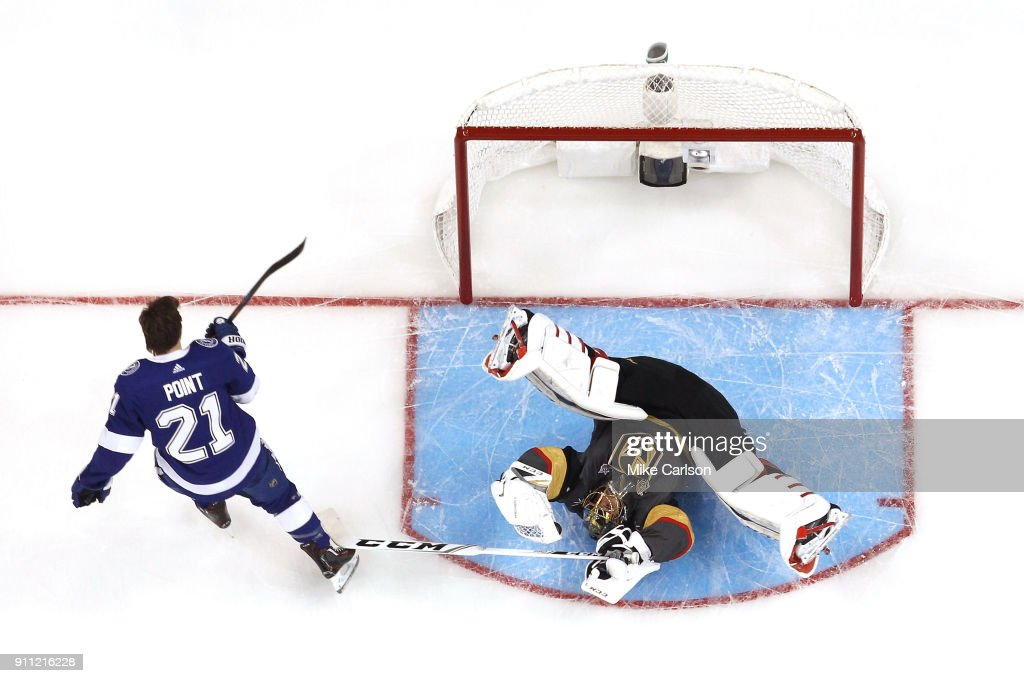 Marc-Andre Fleury #29 of the Vegas Golden Knights saves the shot from Brayden Point #21 of the Tampa Bay Lightning during the GEICO NHL Save Streak during the 2018 GEICO NHL All-Star Skills Competition at Amalie Arena on January 27, 2018 in Tampa, Florida.