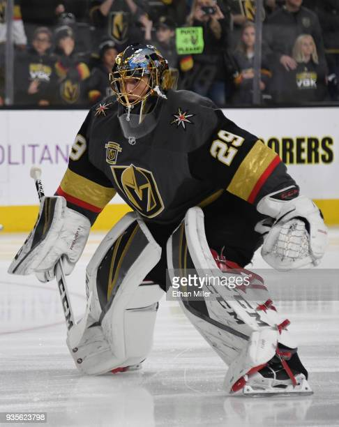 MarcAndre Fleury of the Vegas Golden Knights skates during warmups before a game against the Vancouver Canucks at TMobile Arena on March 20 2018 in...