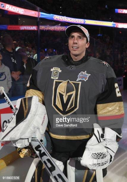MarcAndre Fleury of the Vegas Golden Knights stands on the ice before the 2018 GEICO NHL AllStar Skills Competition at Amalie Arena on January 27...