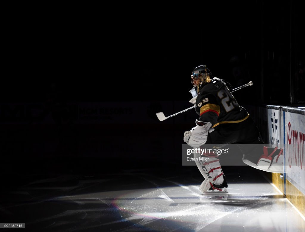 Marc-Andre Fleury #29 of the Vegas Golden Knights steps onto the ice for a game against the New York Rangers at T-Mobile Arena on January 7, 2018 in Las Vegas, Nevada. The Golden Knights won 2-1.