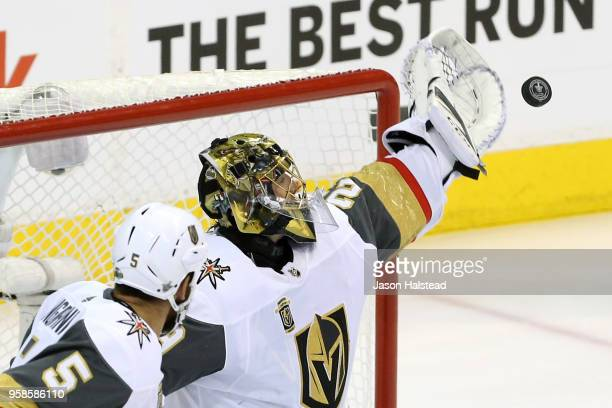 MarcAndre Fleury of the Vegas Golden Knights stops a shot against the Winnipeg Jets in Game Two of the Western Conference Finals during the 2018 NHL...
