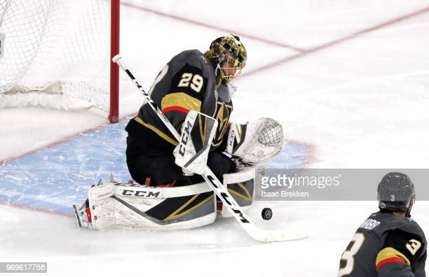MarcAndre Fleury of the Vegas Golden Knights stops a shot against the Washington Capitals during the first period in Game Five of the 2018 NHL...
