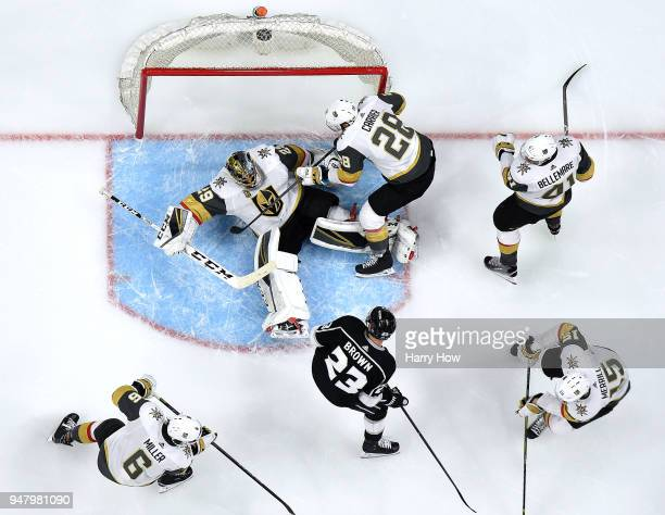 MarcAndre Fleury of the Vegas Golden Knights stops a shot from Dustin Brown of the Los Angeles Kings during a 10 Golden Knights win to sweep the...