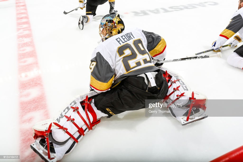 Marc-Andre Fleury #29 of the Vegas Golden Knights stretches at warm up in an NHL game on January 30, 2018 at the Scotiabank Saddledome in Calgary, Alberta, Canada.