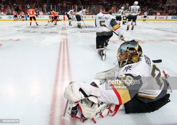 MarcAndre Fleury of the Vegas Golden Knights stretches during warmups prior to his game against the Philadelphia Flyers on March 12 2018 at the Wells...