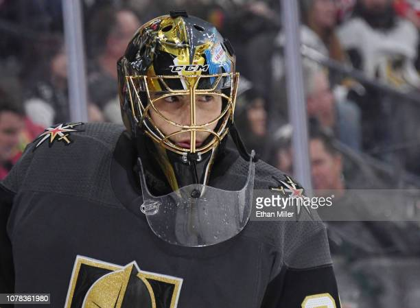 MarcAndre Fleury of the Vegas Golden Knights takes a break during a stop in play in the third period of a game against the Chicago Blackhawks at...