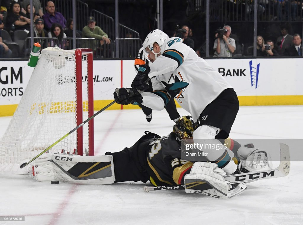 Marc-Andre Fleury #29 of the Vegas Golden Knights takes down Joonas Donskoi #27 of the San Jose Sharks in the second overtime period of Game Two of the Western Conference Second Round during the 2018 NHL Stanley Cup Playoffs at T-Mobile Arena on April 28, 2018 in Las Vegas, Nevada. The Sharks won 4-3 in double overtime.