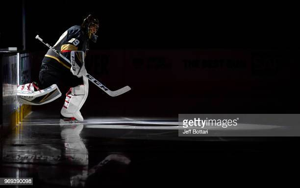 MarcAndre Fleury of the Vegas Golden Knights takes the ice prior to the second period in Game Five of the Stanley Cup Final against the Washington...