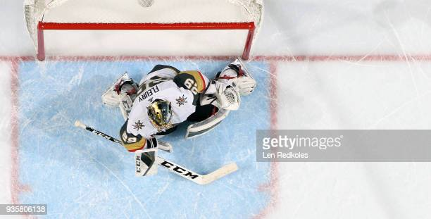MarcAndre Fleury of the Vegas Golden Knights tends goal against the Philadelphia Flyers on March 12 2018 at the Wells Fargo Center in Philadelphia...